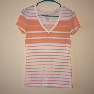 American Eagle Outfitters Stripped V Neck Tee